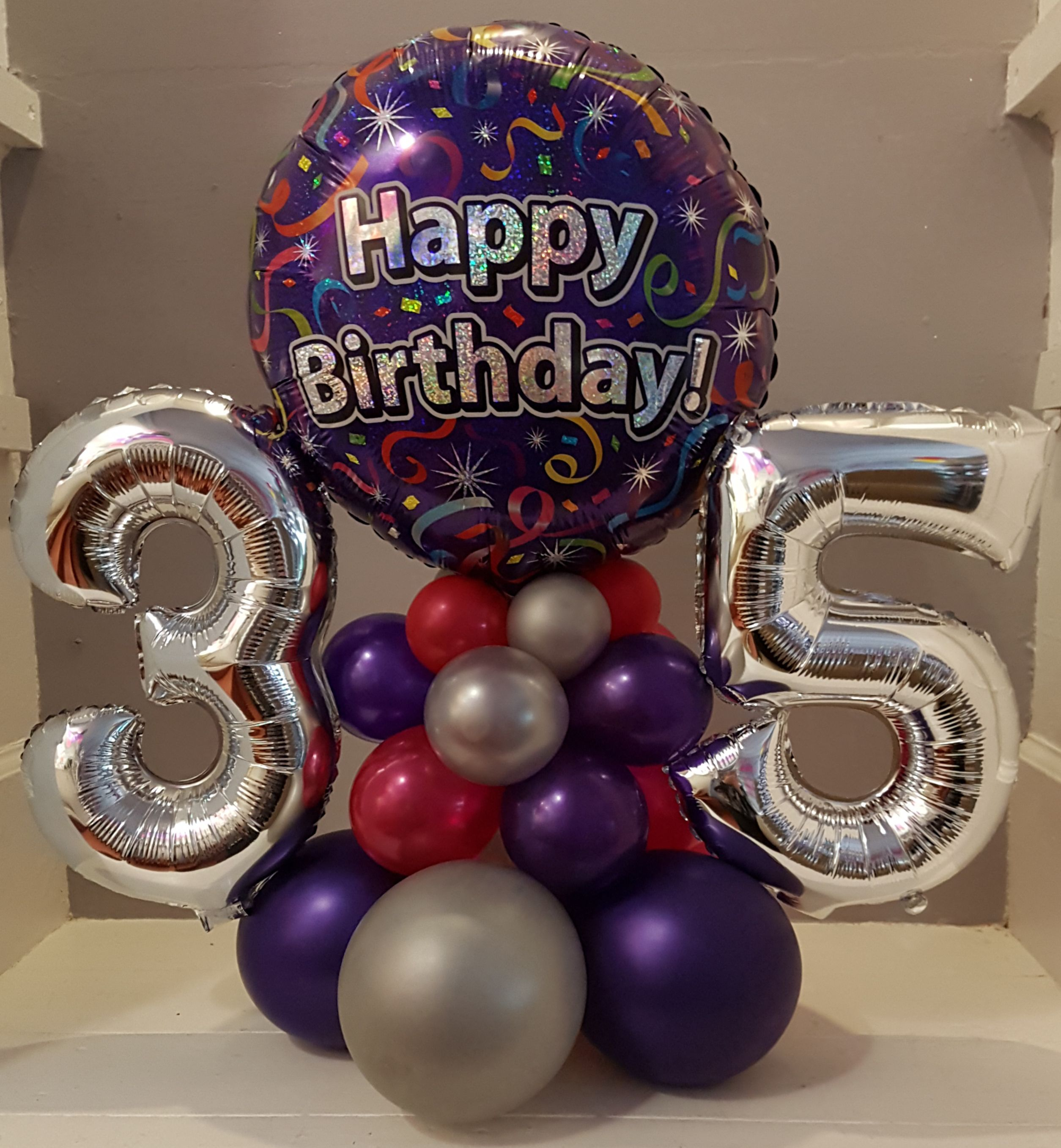 35th Birthday Balloon Arrangement In Purple Pink And Silver