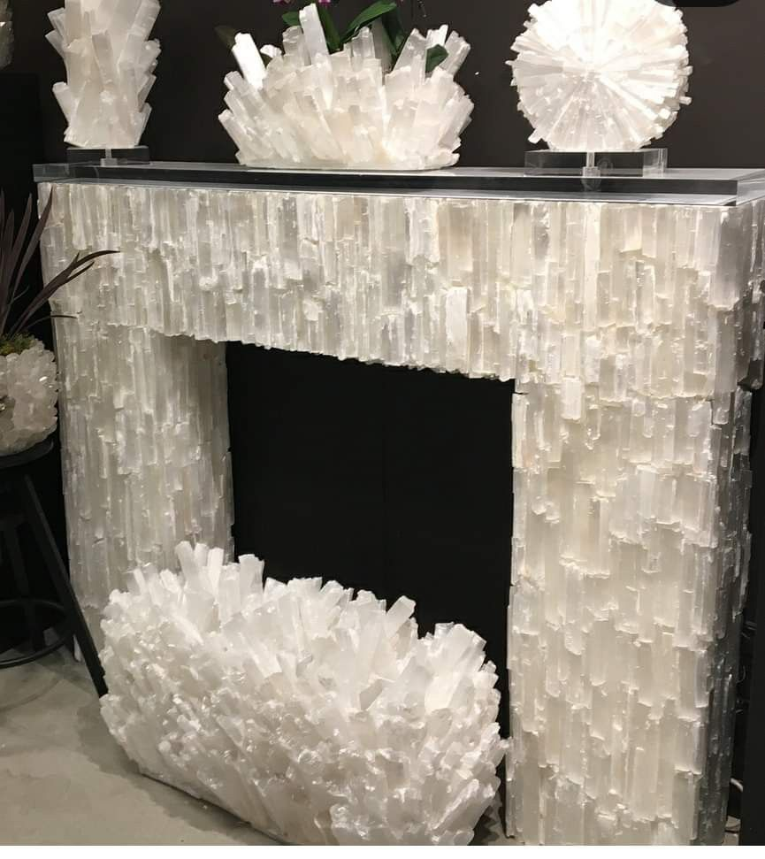 Imagine That A Beautiful Selenite Fireplace My Dream For The Living Room Crystal Decor Crystals In The Home Crystal Furniture