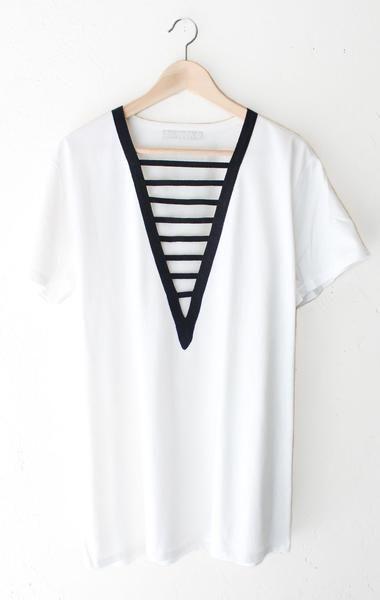 Deep V-neck Tshirt Dress - White