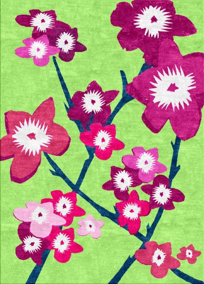 Japanese Flowers area rug - green / pink colourway:  A contemporary take on traditional Japanese art created using Sonya's signature collage techniques. Perfect for traditional rooms that need a lift without wanting to go ultra modern. This piece will transform the atmosphere of darker rooms adding light and interest. Hand tufted in pure New Zealand wool, can also be priced in hand knotted. Suitable for dining room, kitchen, living room & bedrooms. See www.sonyawinner.com/japanese-flowers