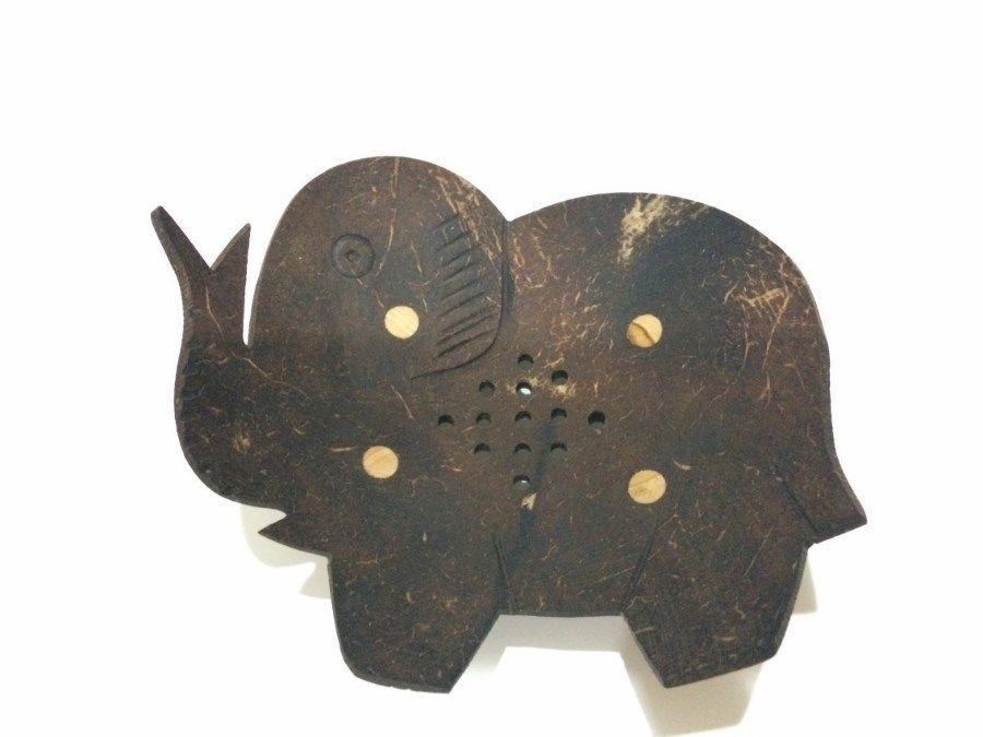 SOAP DISH DISPENSER BATHROOM ACCESSORY COCONUT SHELL ELEPHANT THAI HANDCRAFT #Unbranded