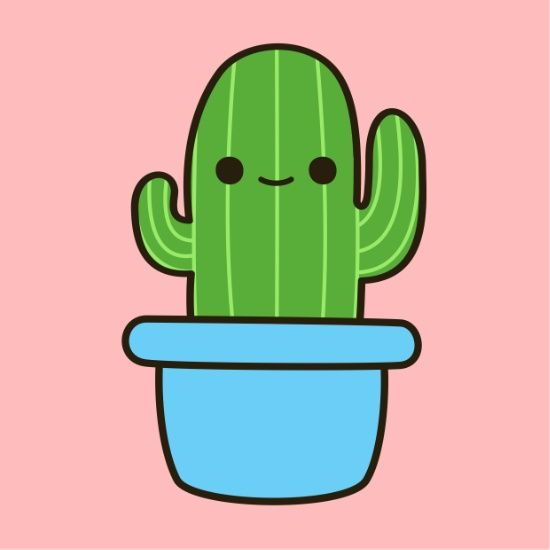 Quot cute cactus in blue pot quot stickers by peppermintpopuk best free home design idea inspiration