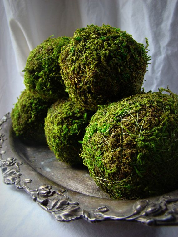 10 Ways To Decorate With Green Moss: Moss Balls, 4'' Moss Balls, Bowl Filler, Natural Moss Balls, Moss Decor