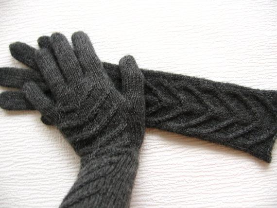 Winter Gloves Long Gloves For Women 100 Pure Wool Hand Knit Etsy Long Gloves Gloves Winter Gloves