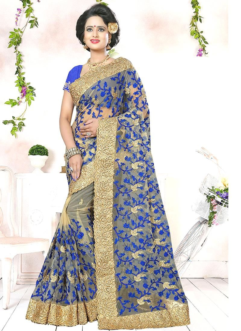 Buy designer saree and indian saree online order this net blue