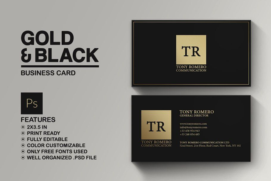 Simple Gold And Black Business Card Business Cards Creative Templates Black Business Card Business Card Template Design