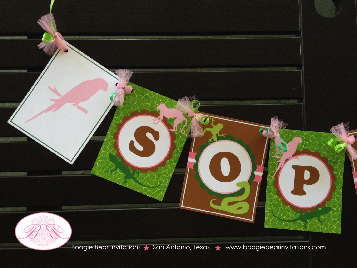Pink Rainforest Party Name Banner Birthday Girl Parrot
