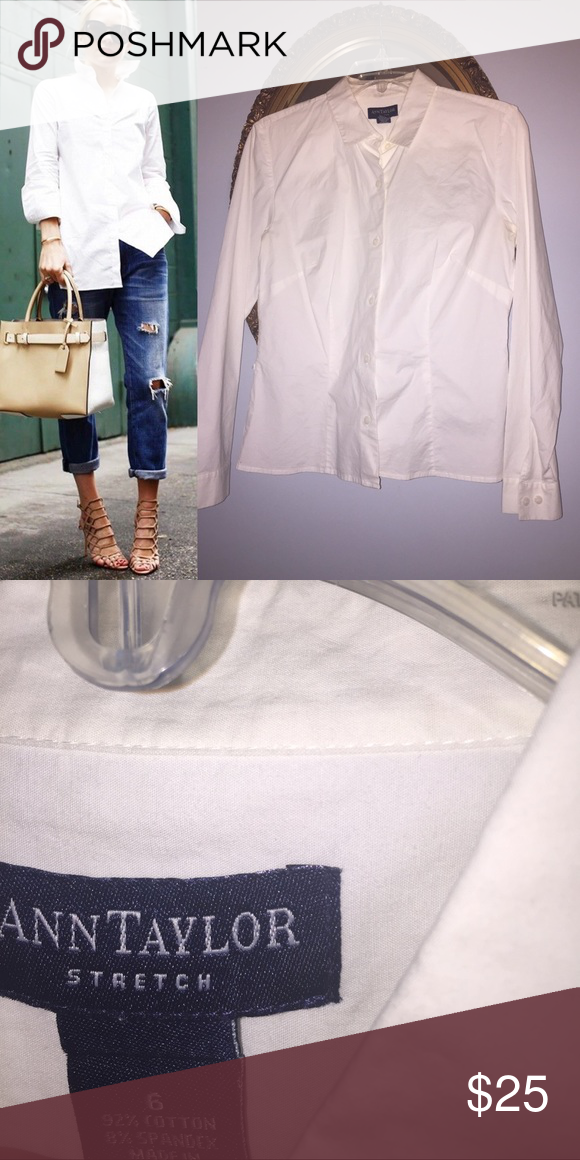 ANN TAYLOR white button down shirt Excellent condition 100% cotton. Stretch Ann Taylor Tops Button Down Shirts