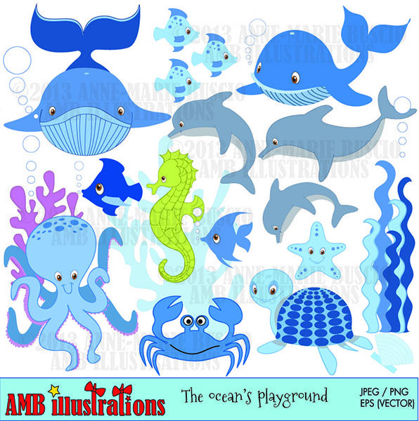 Sea Creatures Clipart Mygrafico Com Colorful Seahorse Clip Art Sea Creatures