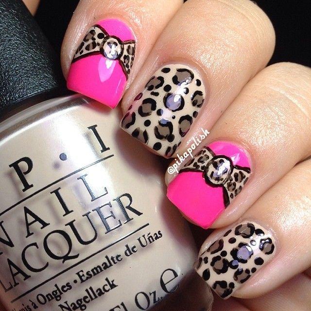 bow themed nail art
