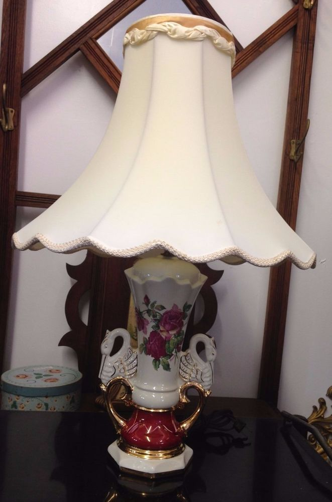 Vintage 1940u0027s China Lamp Ruby Roses Gold Accents Swan Handles Signed  Worrall