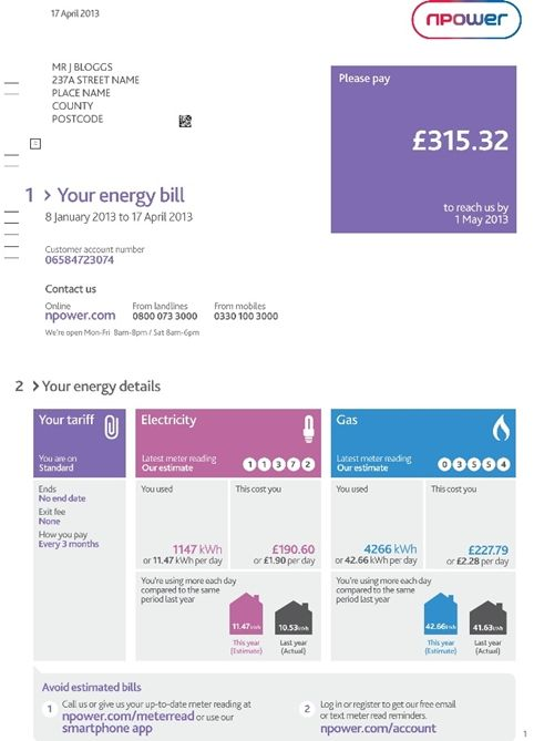 The New Npower Bill Great Clarity Of Design Bill Template