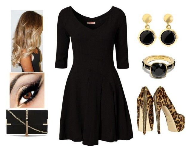 """""""Little Black Dress #9"""" by teodoramaria98 ❤ liked on Polyvore featuring Cacharel, Brian Atwood, Brooks Brothers and Coach"""