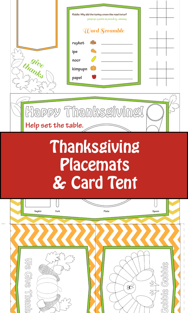 Thanksgiving Placemats for Kids | Thanksgiving placemats and ...