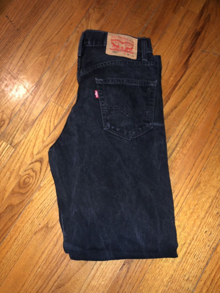 ec8b9294af9 Levi's 550 Black Denim Relaxed Fit Men's Straight Leg Red Tab Jeans Size 30 X  33