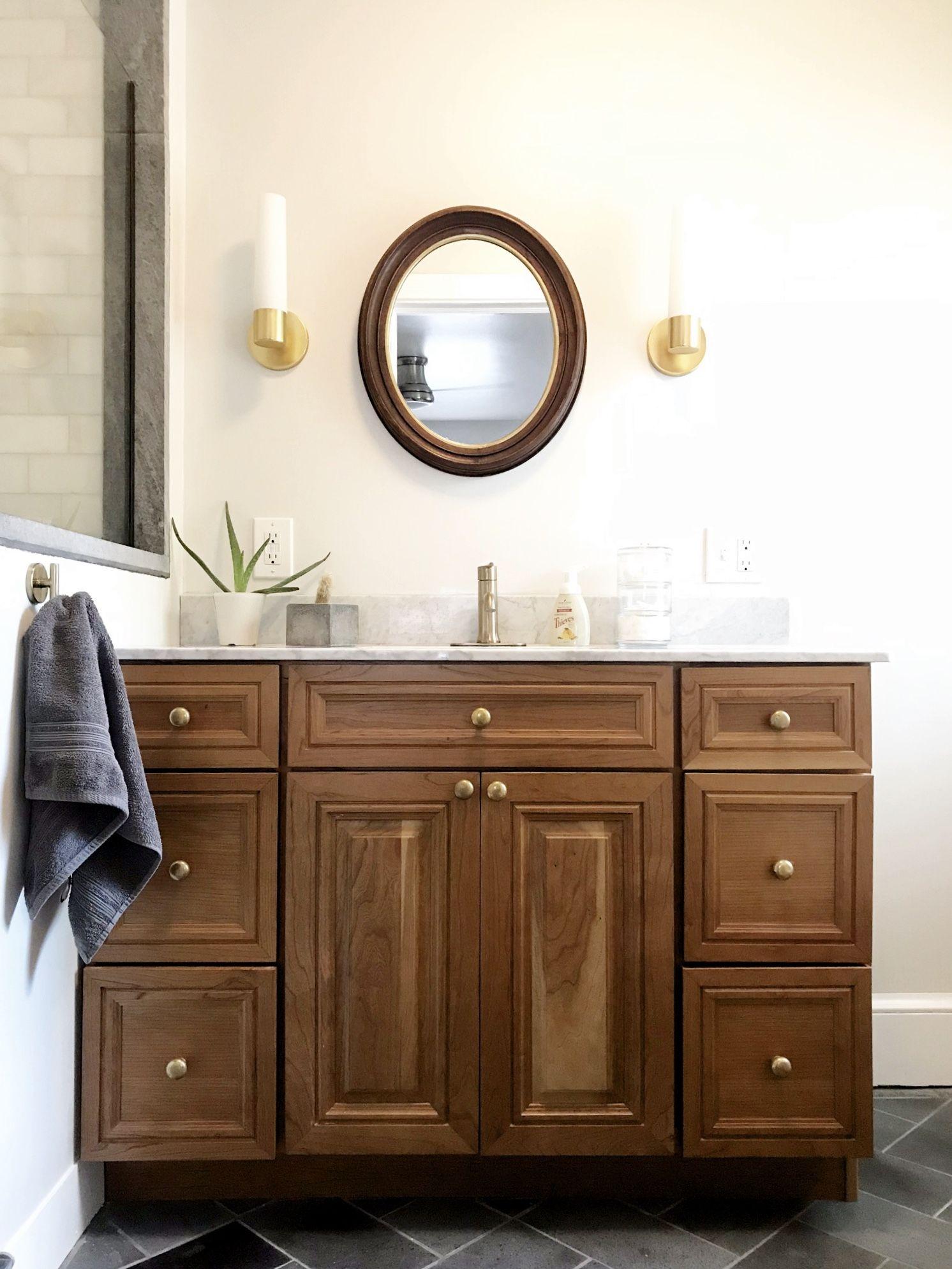 Vanity And Marble Countertop Sourced From Craigslist Marble Subway Tile On Showe Waterproof Bathroom Wall Panels Bathroom Wall Panels Wood Look Tile Bathroom