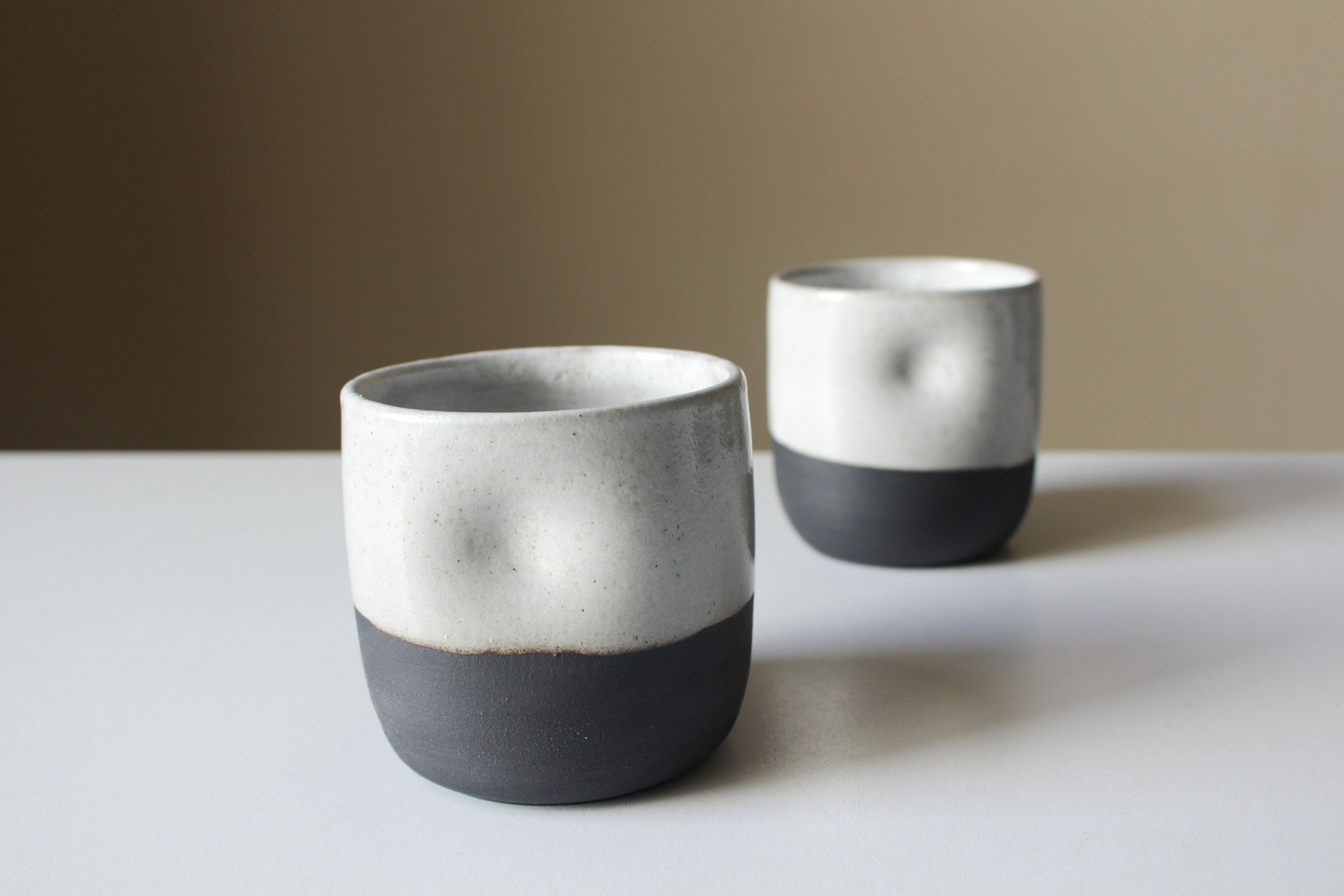 Cord X Clay Thumbler Ceramic Tumbler Mug Cup With Thumb Hold Black Clay With White Glaze Pottery Modern Glazes For Pottery Black Clay Ceramic Tumbler