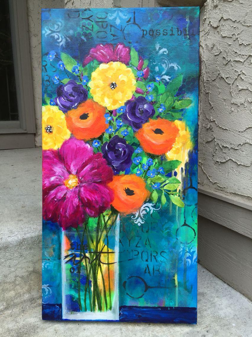 8552d7242 Acrylic paint, stencils, spray paint on 12x24 canvas. Flower love..by Betsy  Walcheski