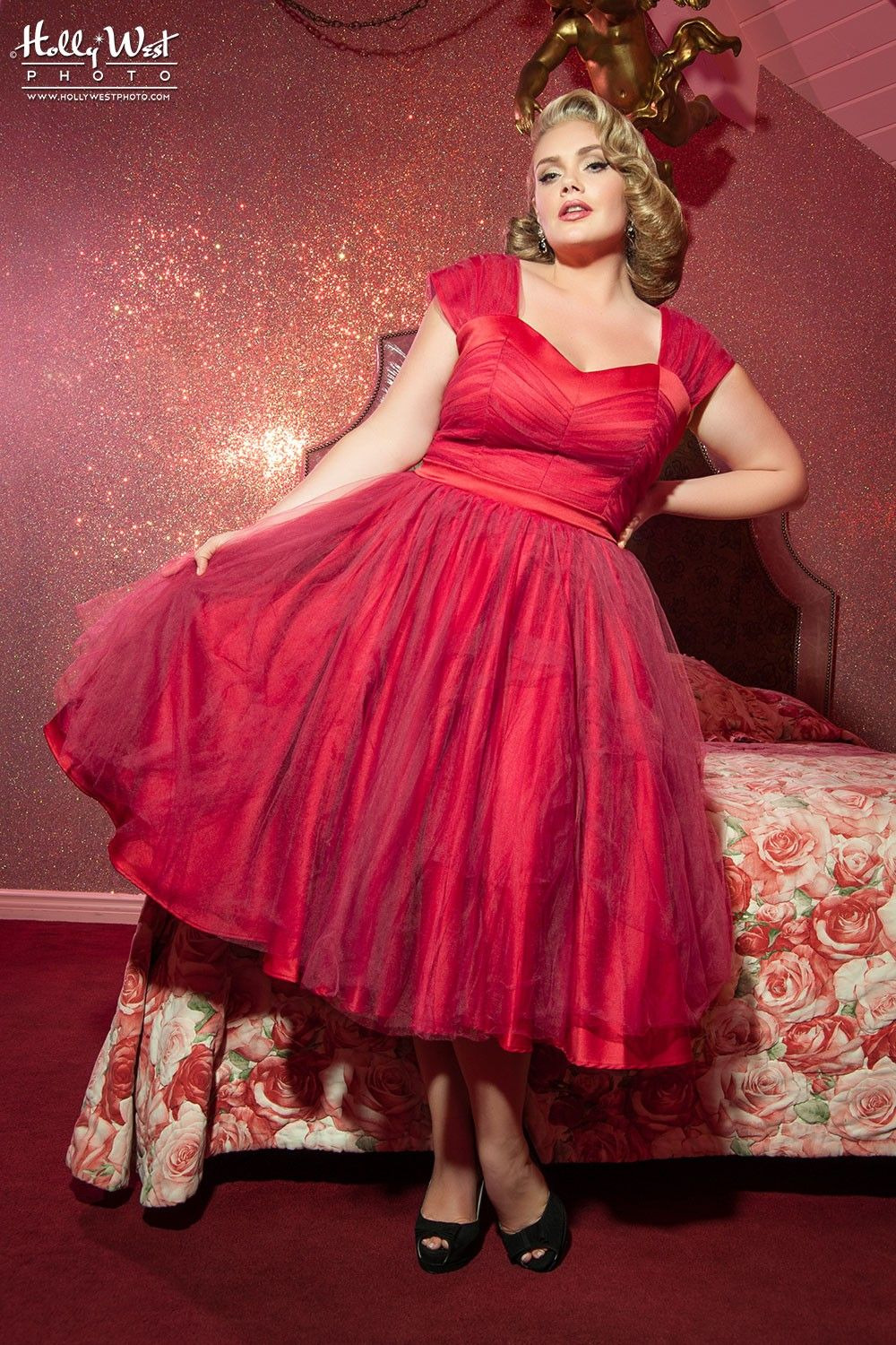 Vintage Inspired Red Satin 1950s Prom and Party Dress with ...