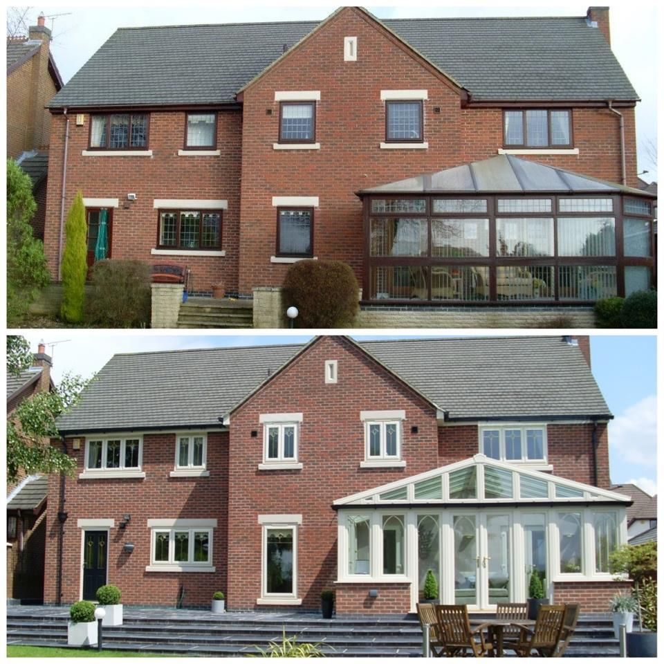 Conservatories concept windows and conservatories essex - Before After Shot Upvc Windows Doors Conservatory In Cream