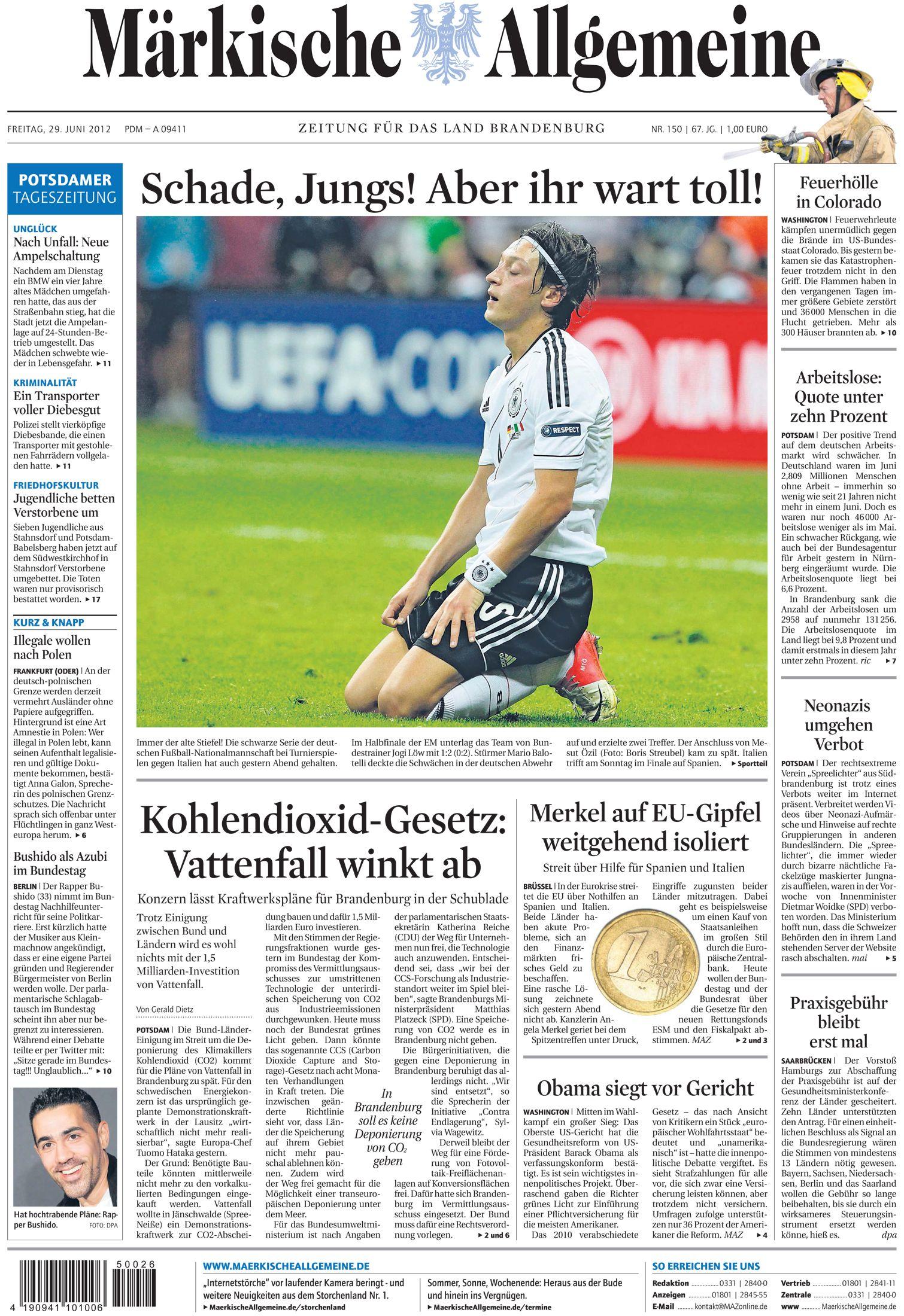Freitag, 29. Juni 2012 - Das böse Erwachen nach dem EM-Aus der Deutschen Nationalelf gegen Italien - auch beim Public-Viewing. » http://www.maerkischeallgemeine.de/cms/ziel/17694166/DE/Public-Viewing.html