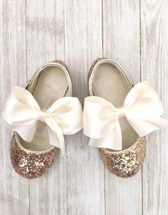 36cd7b84aa3e GOLD Rock Glitter Maryjane with IVORY SATIN bow for flower girls ...