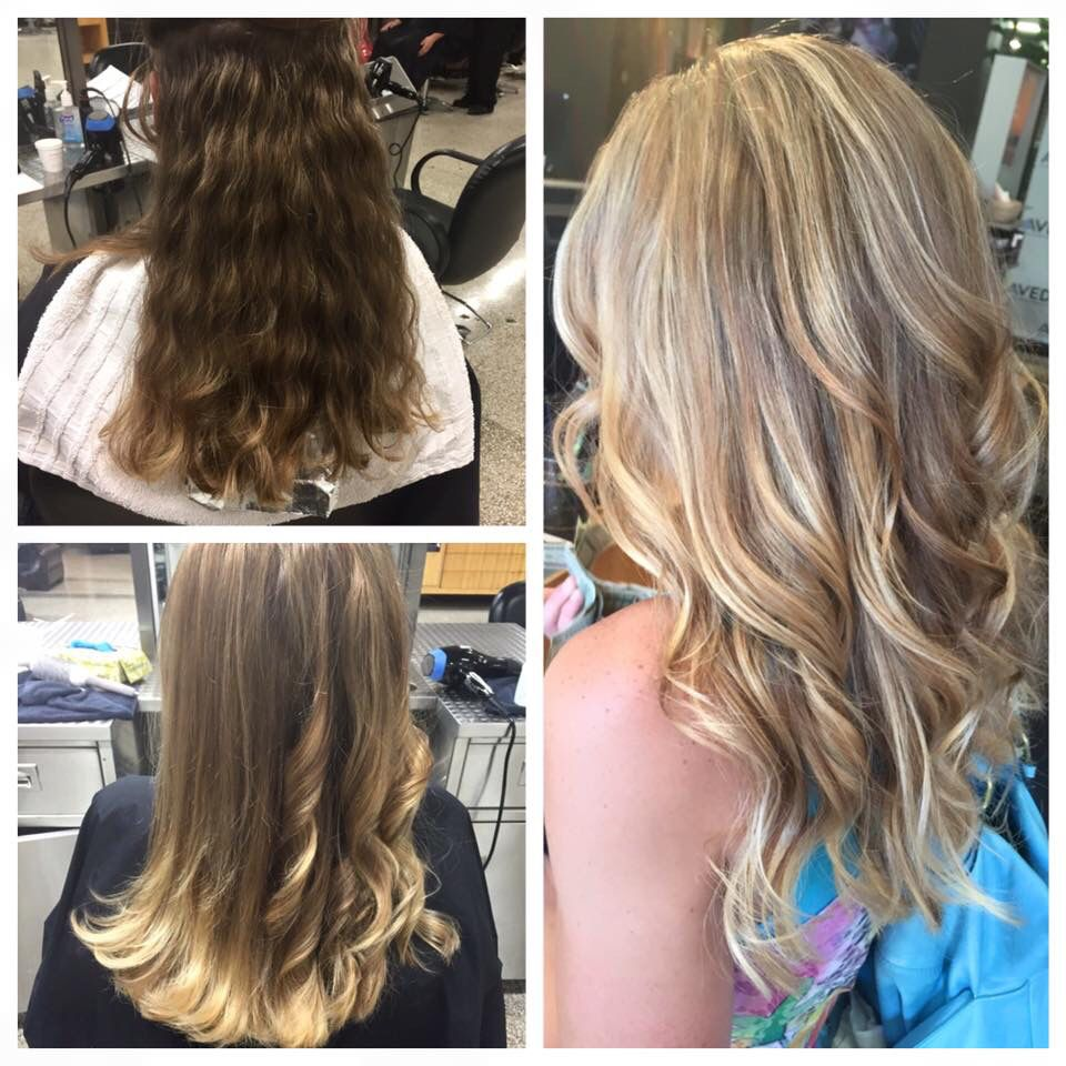 Top left: start, before  Bottom left: after - balayage curled and straight Right side: balayage curled in natural lighting