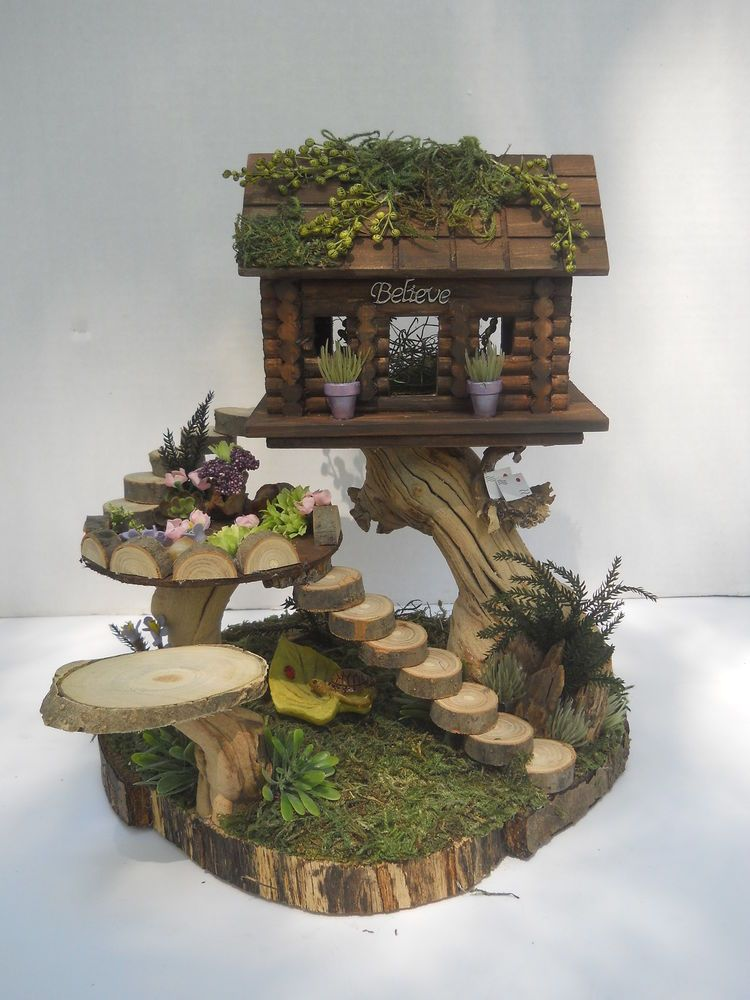 OOAK Fairy Log Cabin, House, Miniatures, Fantasy