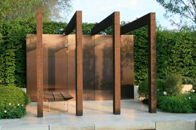 moderne pergola sitzbank holz metall hohe sichtschutz