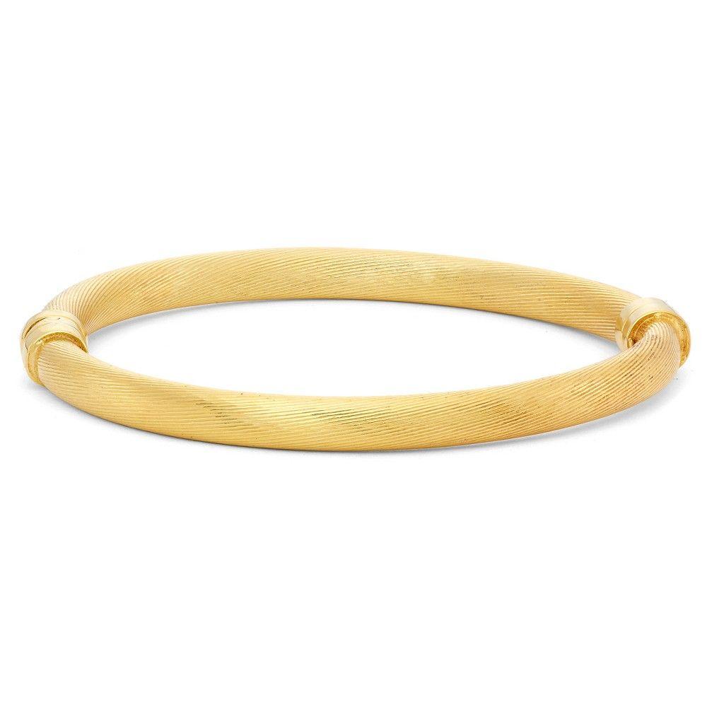 Tiara gold over silver thick textured hinge bangle womenus yellow