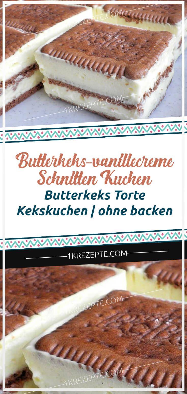 Butterkeks-Vanillecreme-Schnitten Kuchen – Butterkeks ...