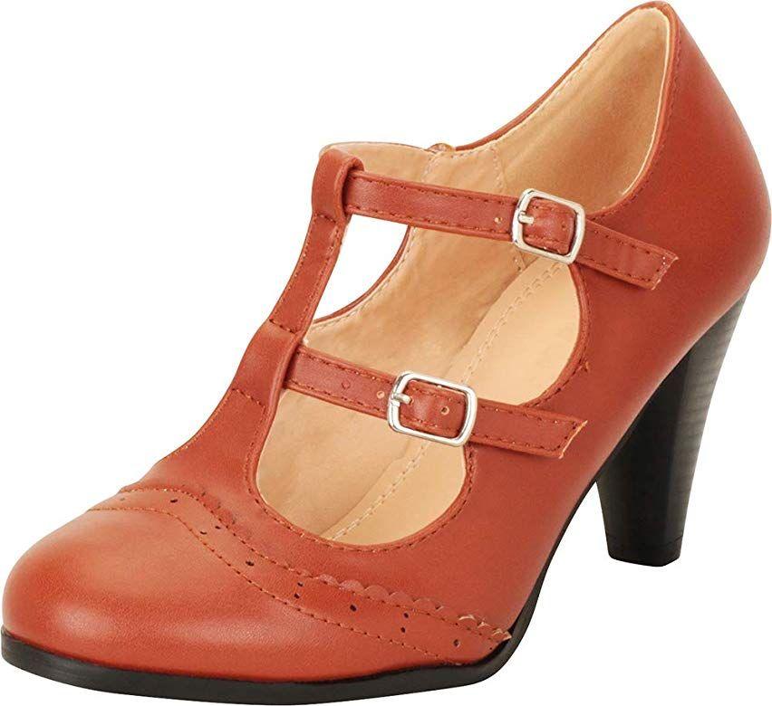 Cambridge Select Womens Retro Pinup T-Strap Wingtip Mary Jane Mid Heel Pump