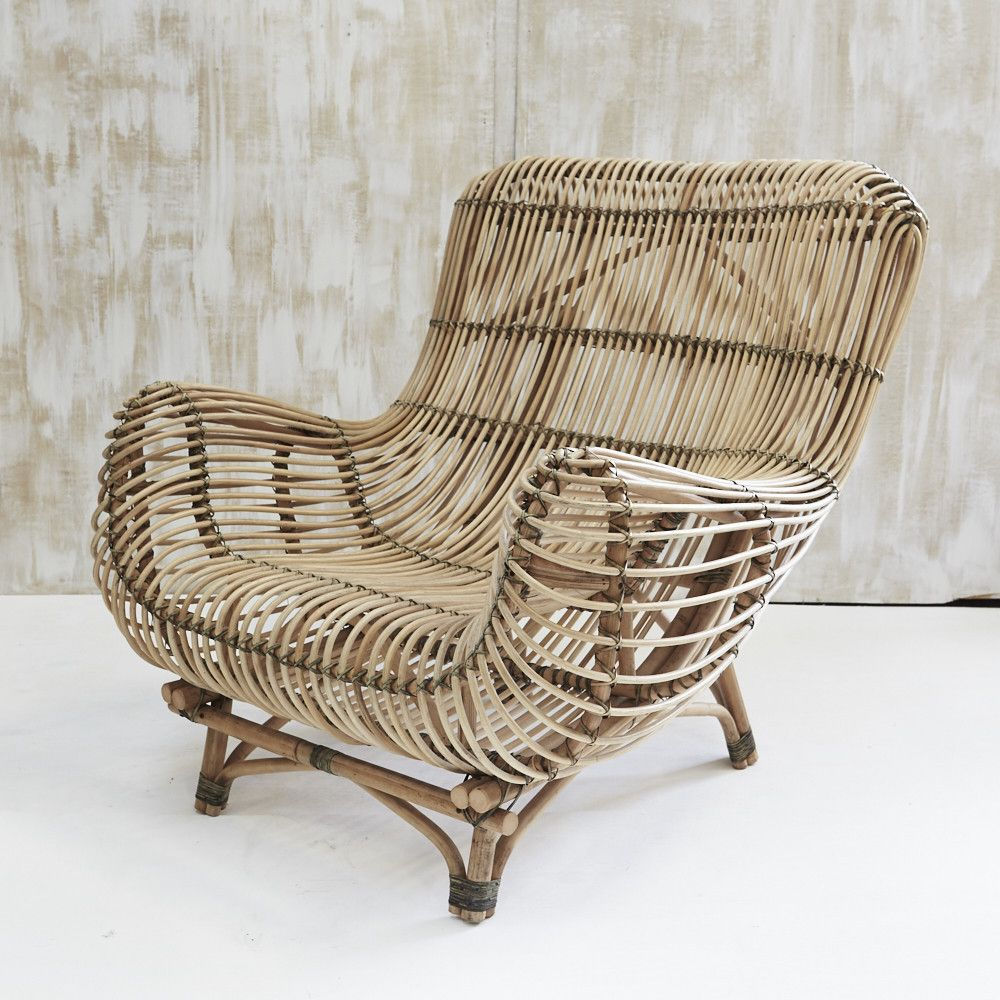 Bayu Oversized Rattan Armchair Side View From In