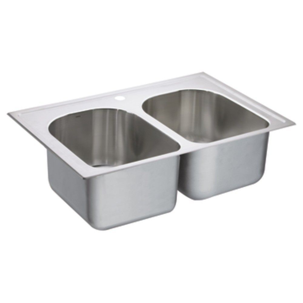 "1800 Series 33"" x 22"" Double Bowl Drop-In Kitchen Sink"