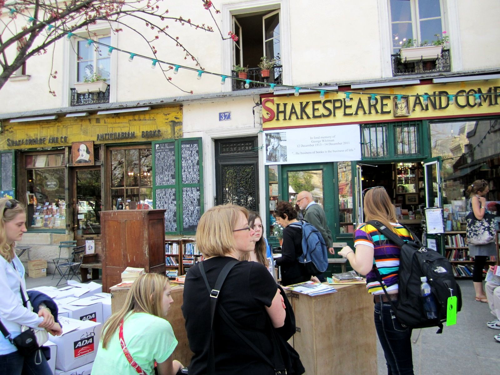 The famous bookstore in Paris http://wordsandpeace.files.wordpress.com/2012/05/shakespeare-and-company-1.jpg
