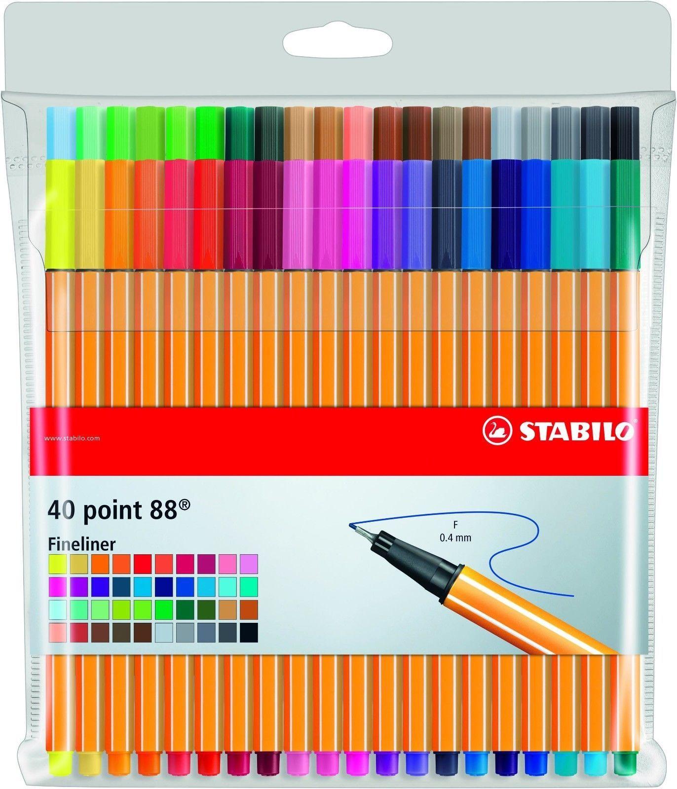Stabilo Point 88 Mini Fineliner Drawing Art Pens wallet of 18 Neon Ass