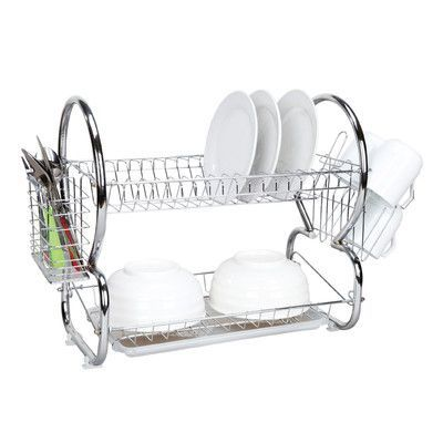 Home Basics 2 Tier Dish Rack Best Home Basics 2 Tier Dish Drainer Finish Chrome  Products Review
