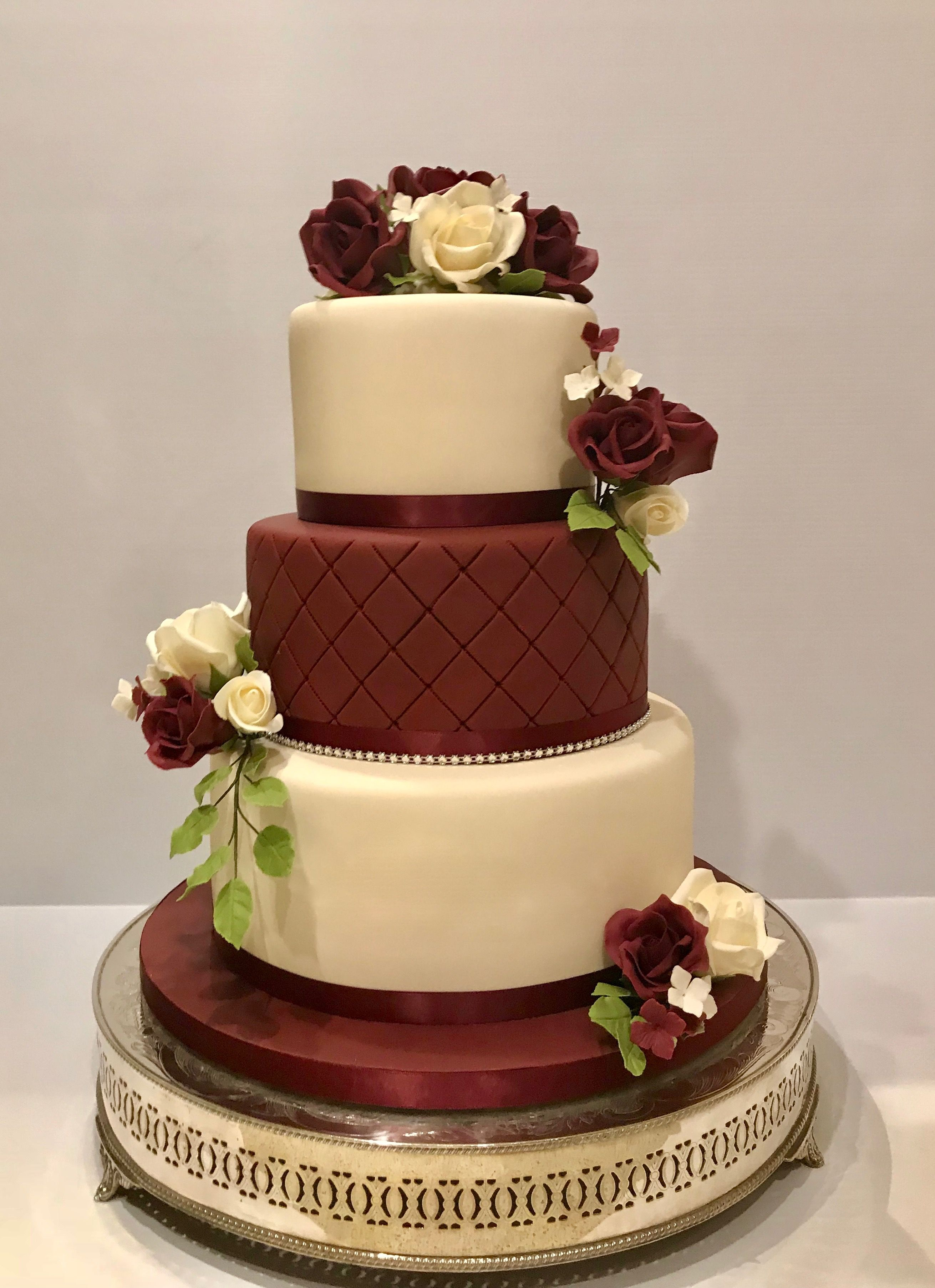 Maroon Quilted Middle Tier With Sugar Roses Burgundy Wedding Cake Romantic Wedding Cake Wedding Cakes Maroon