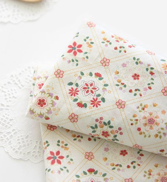 Lovely Diagonal Line Floral Pattern 30s Cotton by luckyshop0228, $10.90