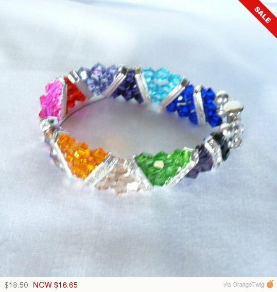 ENDSMMR10 Unique Awesome Colors of Summer Swarovski Crystal Zig Zag Cuff Style Bracelet by hidesrtrosesattic. Explore more products on http://hidesrtrosesattic.etsy.com