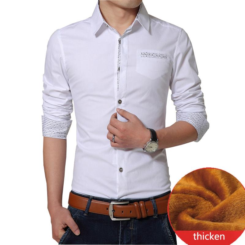 d04840ebdbc Autumn Winter Casual Men Shirt Warm Men Shirt Thick Formal Shirts Plus Size  Long Sleeve Plus Size