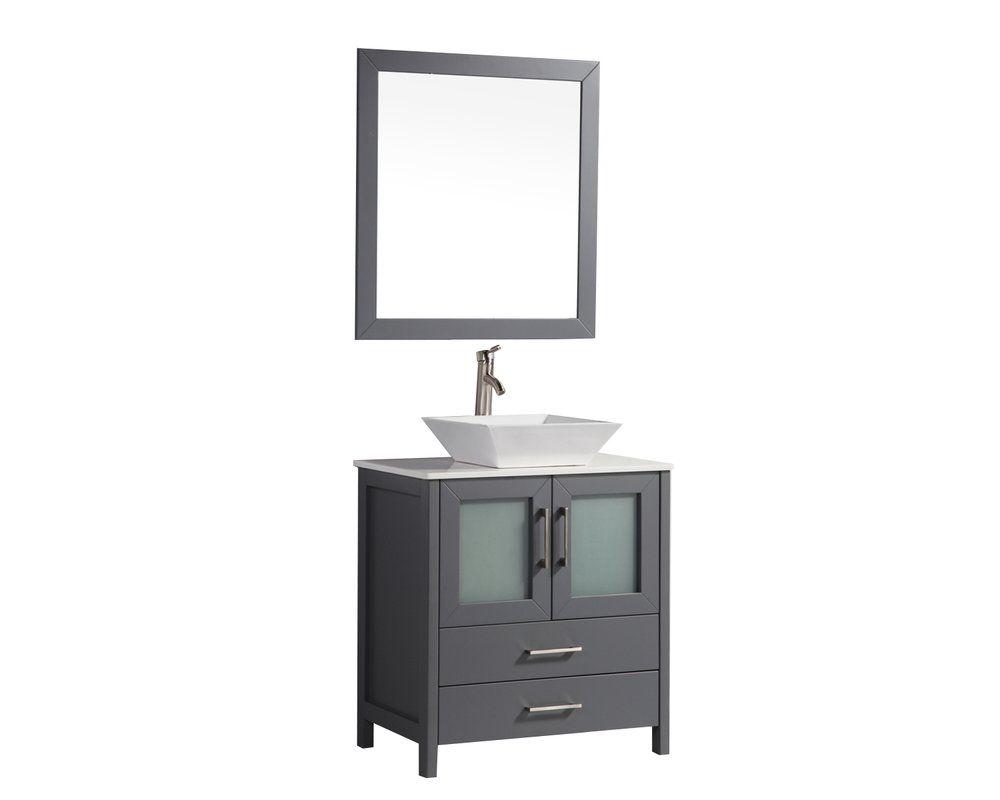Tahiti single modern bathroom vanity set with mirror with price