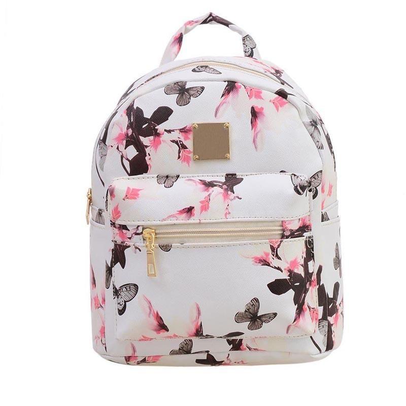 eaa656692068 PU Leather Pocket Girl Butterfly Backpacks