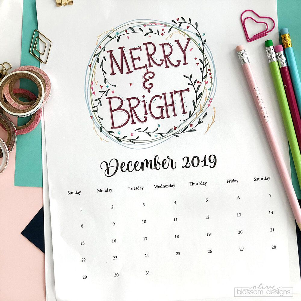 Merry & Bright Printable December Calendar Printable