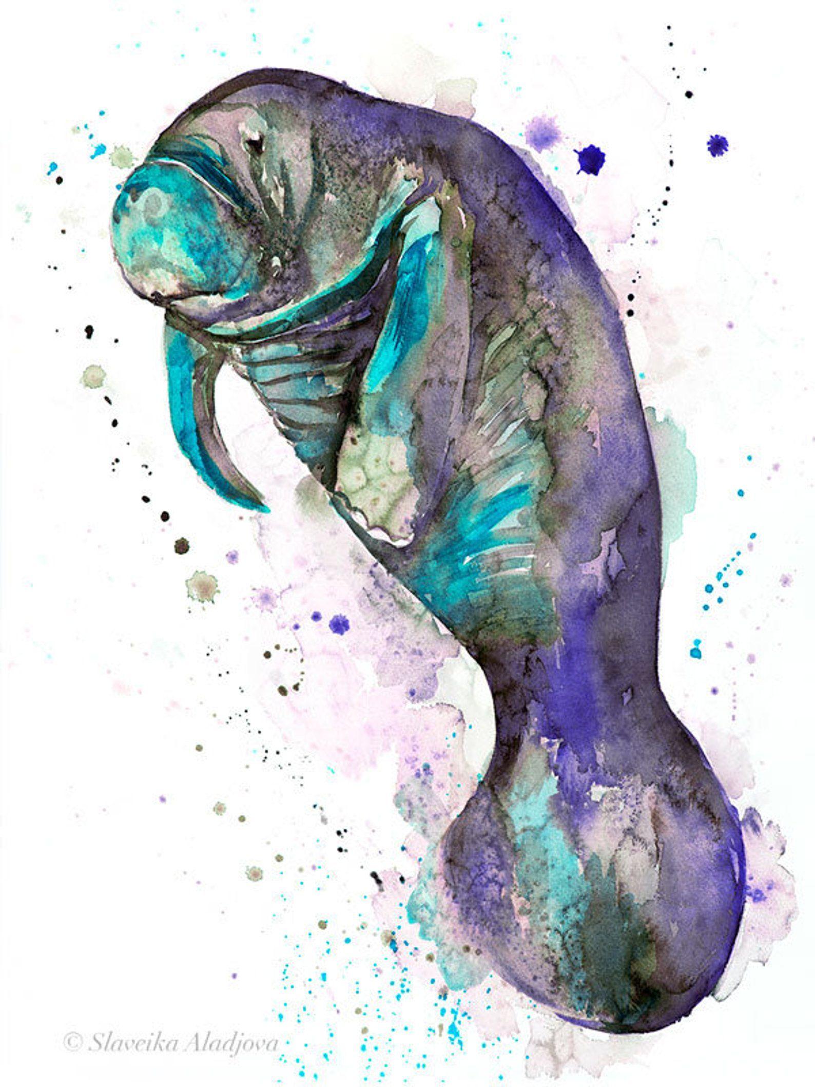 Blue Manatee Watercolor Painting Print By Slaveika Aladjova Art