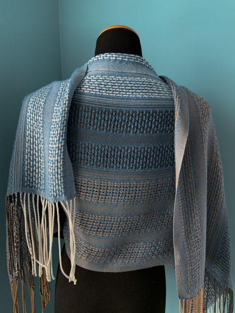 Evening Lace Tencel Shawl / Blue - Handwoven