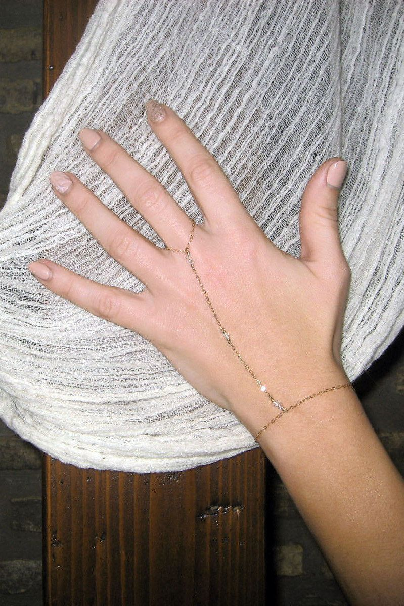 Slave bracelet k gold fill or sterling silver finger bracelet