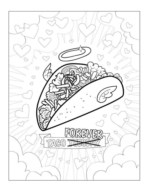 Funny taco printable pdf adult coloring sheet / funny