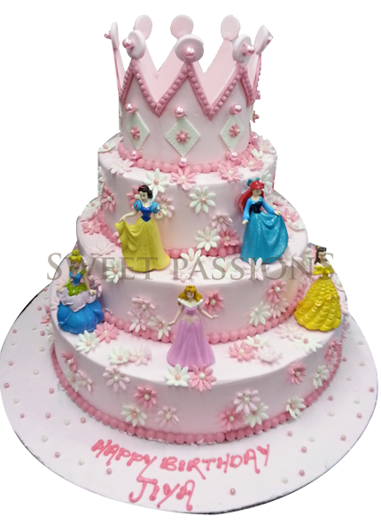 Disney Princess Cake With Crown Only 2 Layers Birthday Cakes