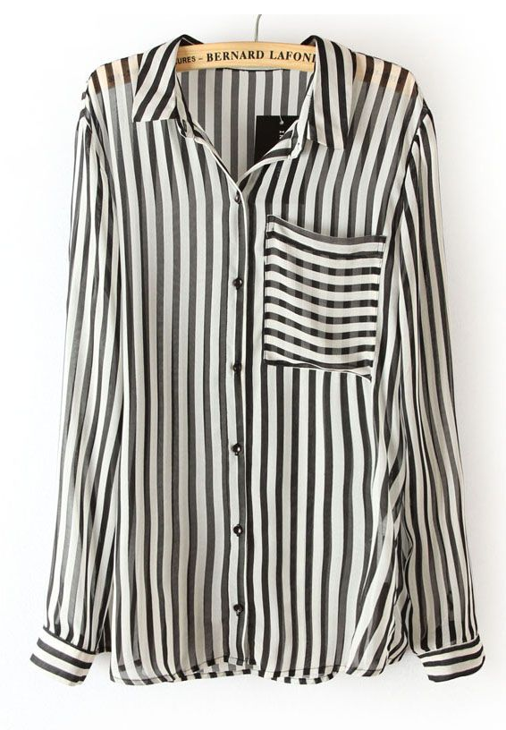 Black White Vertical Stripe Long Sleeve Chiffon Blouse - Sheinside ...